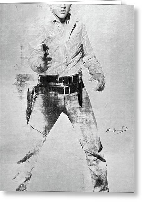 Andy Warhol's, Elvis Presley, Silk Screen, Photo Reference From  Flaming Star, Enhanced, Signed  Greeting Card by Thomas Pollart
