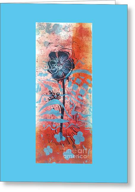 Anemone In Orange And Blue Greeting Card