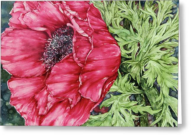 Anemone Greeting Card by Kim Tran