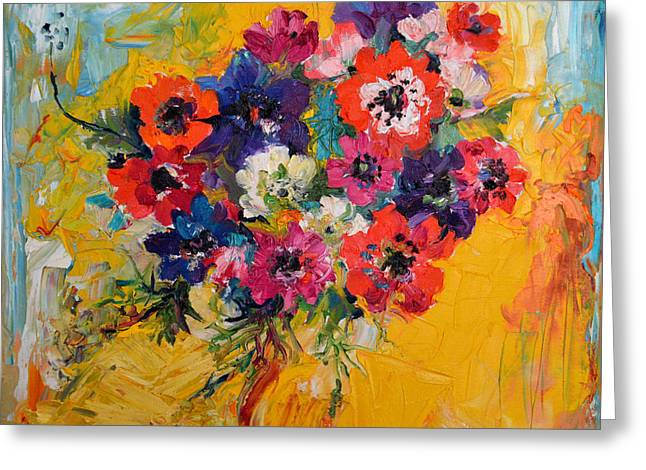 Anemones Bouquet, Floral Painitng, Flowers, Oil Painting Greeting Card