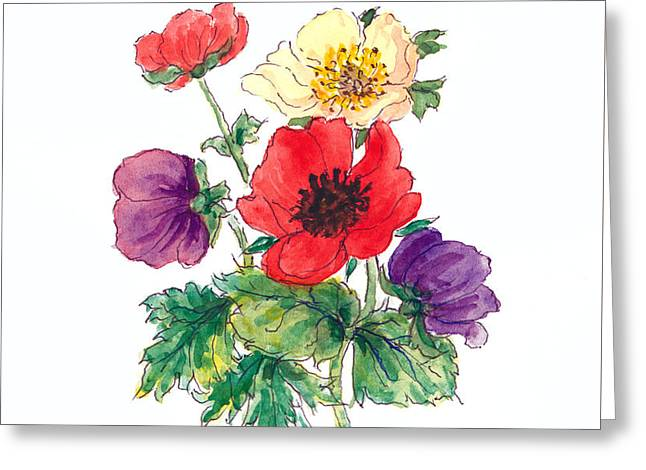 Anemones Greeting Card by Nell Hill