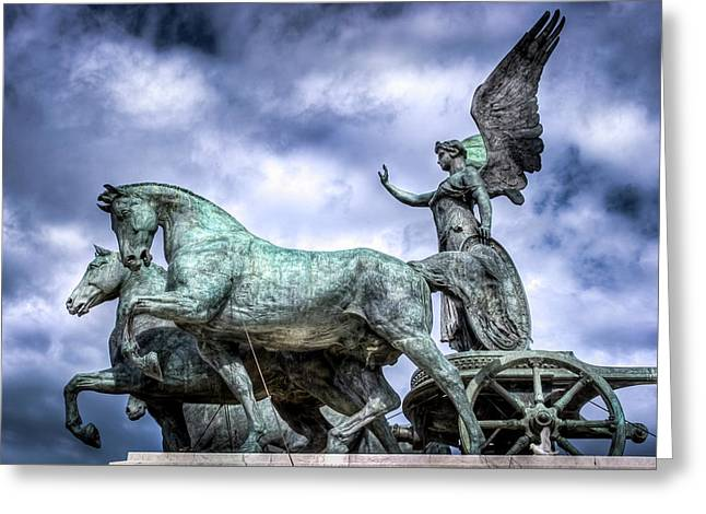Angel And Chariot With Horses Greeting Card by Sonny Marcyan