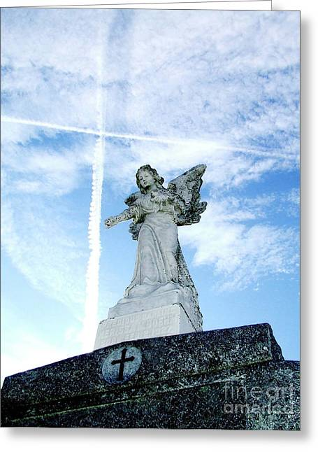 Angel And Crosses Greeting Card