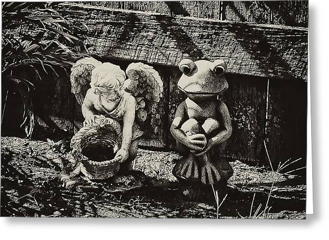 Angel And Frog Greeting Card by Bill Cannon