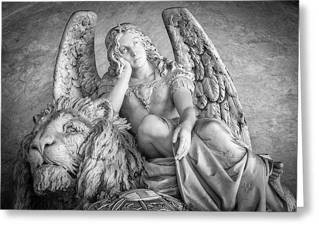 Angel And Lion Greeting Card by Sonny Marcyan