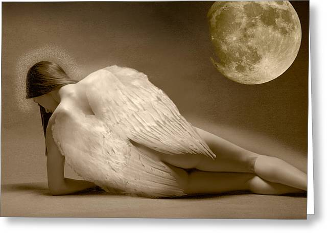 Angel And Moon Greeting Card by Gustavo Fortunatto