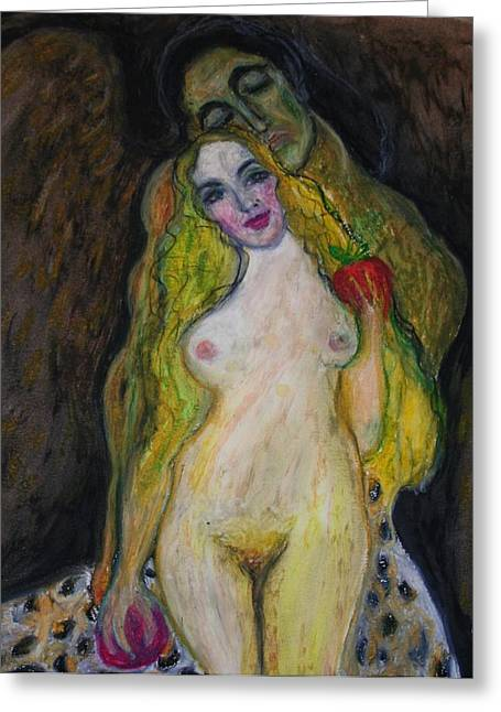 Adam Pastels Greeting Cards - Angel And Temptation Greeting Card by Alma Yamazaki