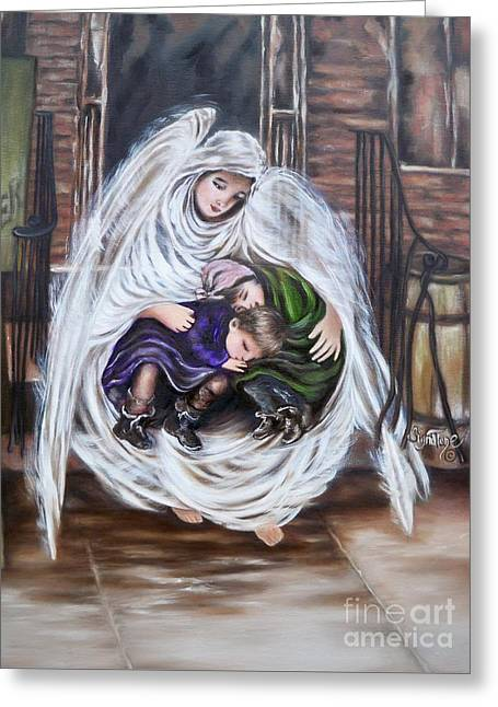 Flying Lamb Productions.        Angel And The Orphans Greeting Card