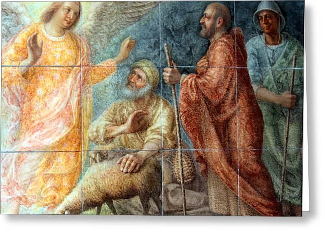Angel And The Shepherds Greeting Card by Munir Alawi
