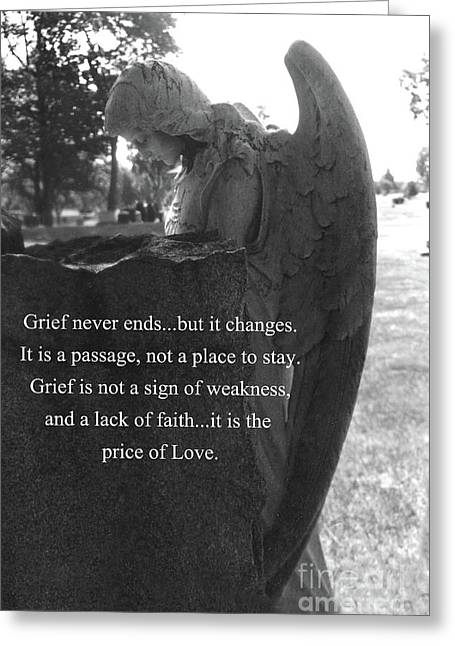 Angel At Grave - Mourning Angel, Sad Angel Art, Grieving Cemetery Angel Decor - The Price Of Love Greeting Card by Kathy Fornal