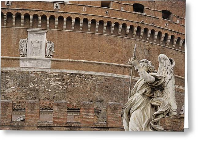 Angel At The Castel Greeting Card by JAMART Photography