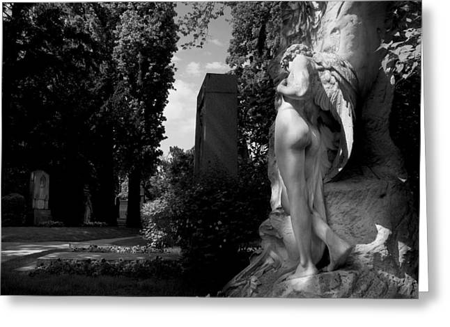 Angel At The Grave Greeting Card