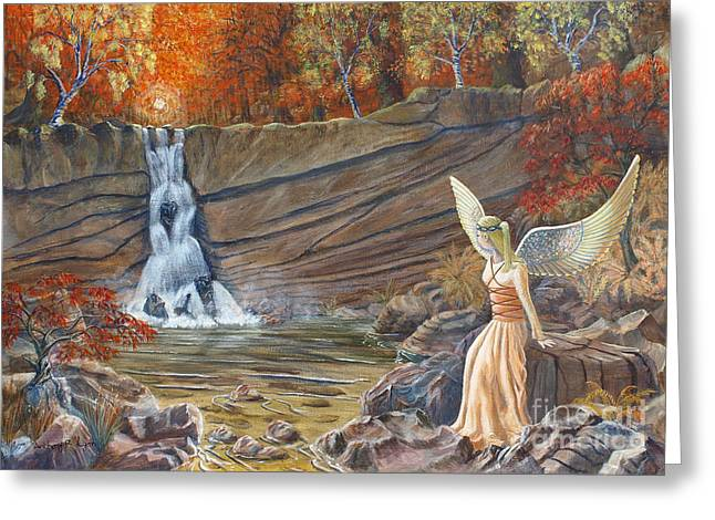 Angel At The Waterfall Greeting Card