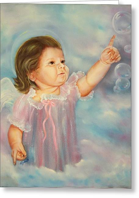 Greeting Card featuring the painting Angel Baby by Joni McPherson