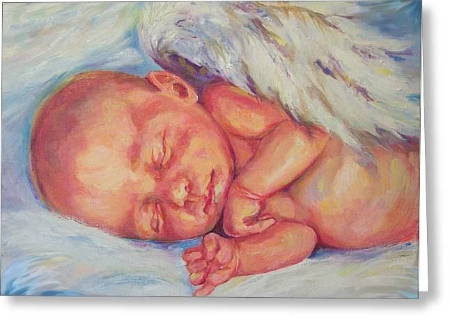 Angel Baby Greeting Card by Peggy Wilson