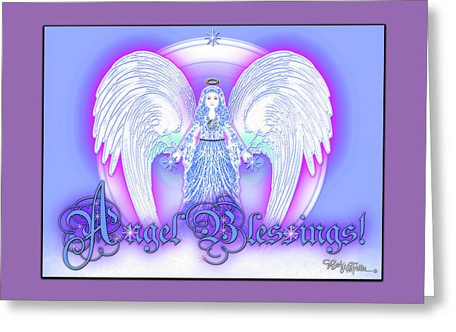 Greeting Card featuring the digital art Angel Blessings #196 by Barbara Tristan