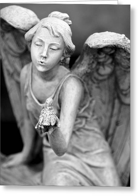 Angel Blowing Kisses Greeting Card by Gwen Allen