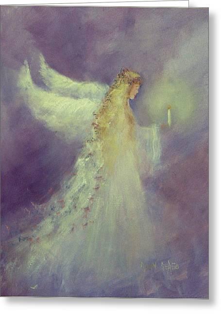 Angel Bright Greeting Card by Sally Seago