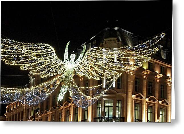 Angel Christmas Lights Regent Street London  Greeting Card by Gill Billington