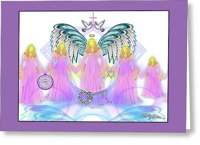 Greeting Card featuring the digital art Angel Cousins #198 by Barbara Tristan