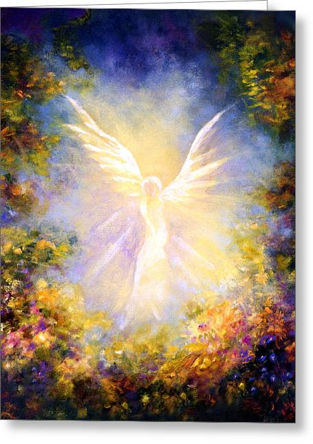 Religious Angel Art Greeting Cards - Angel Descending Greeting Card by Marina Petro