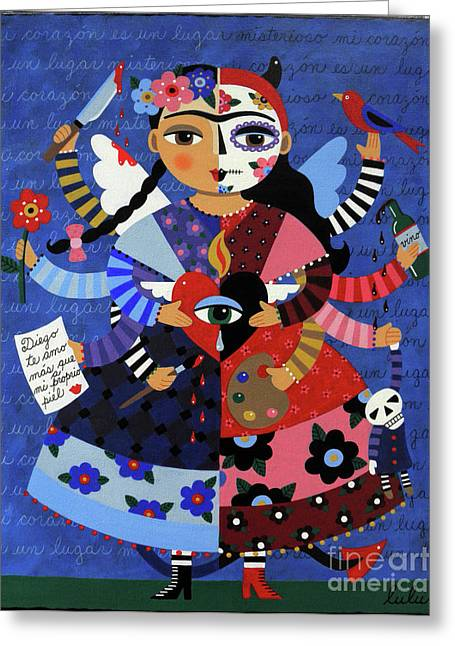 Greeting Card Featuring The Painting Angel Devil 10 Arm Frida Kahlo By LuLu Mypinkturtle