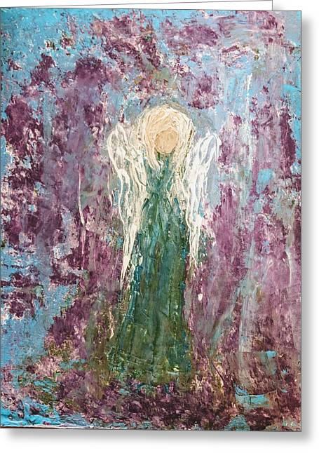 Angel Draped In Hydrangeas Greeting Card