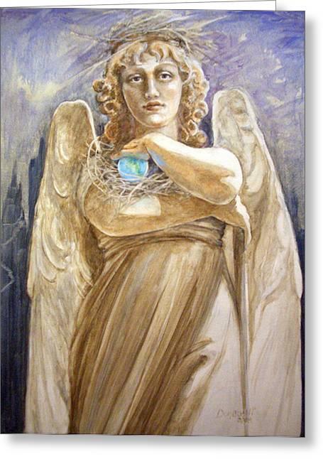 Angel Earth Greeting Card by Kathryn Donatelli