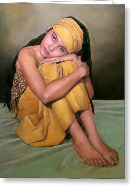 Original work Pastels Greeting Cards - Angel Eyes Greeting Card by Margie Resto