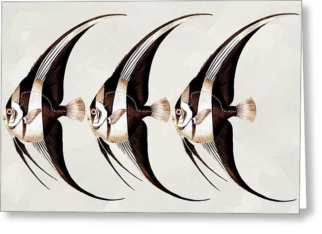 Angel Fish In A Row Wall Art Greeting Card