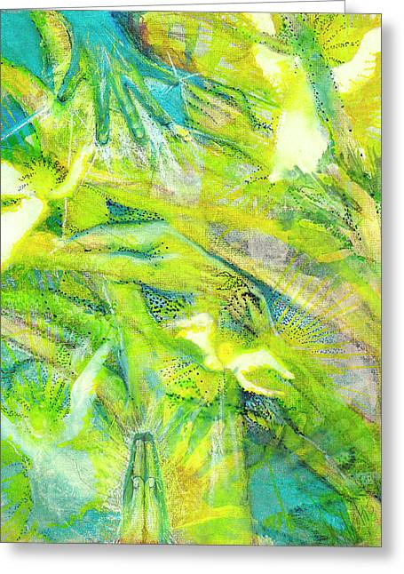 Greeting Card featuring the painting Angel Forest by Kym Nicolas