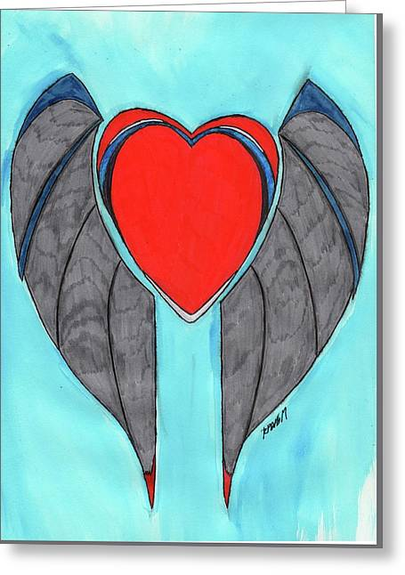Angel Heart Greeting Card by Ronald Woods