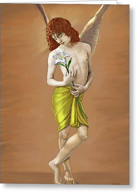 Angel Holding A Lily Greeting Card by Dominique Amendola