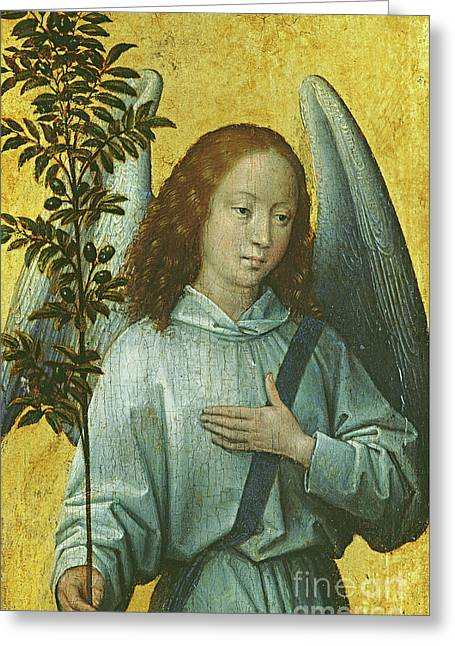 Angel Holding An Olive Branch Greeting Card by Hans Memling
