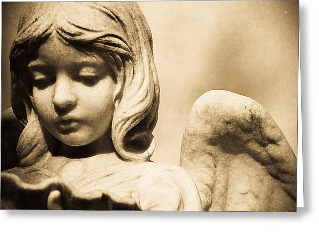 Angel Holding Clam Shell Greeting Card by Diane Payne