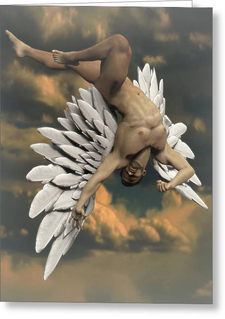 Angel Icarus Greeting Card by Joaquin Abella