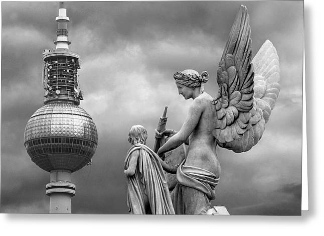 Angel In Berlin Greeting Card by Marc Huebner