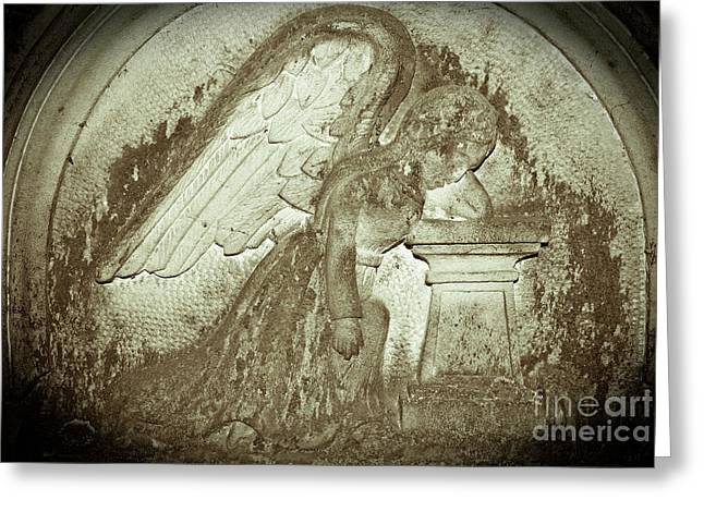 Greeting Card featuring the relief Angel In Grief by Yurix Sardinelly