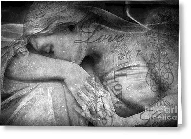 Greeting Card featuring the photograph Angel In Mourning - Angel Crying Sad Cemetery Mourner At Grave - Angel Love Script Valentine Print by Kathy Fornal