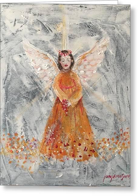 Angel In Orange Greeting Card by Jun Jamosmos