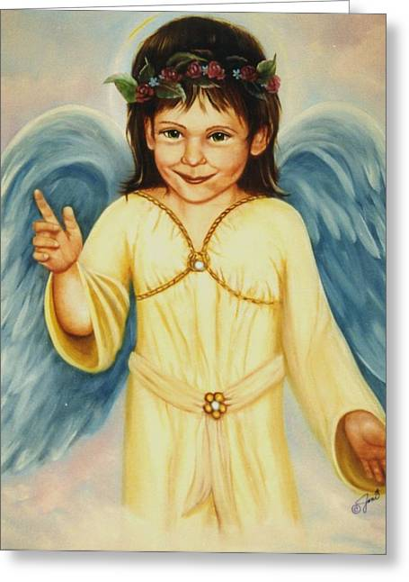 Angel In Yellow Greeting Card by Joni McPherson