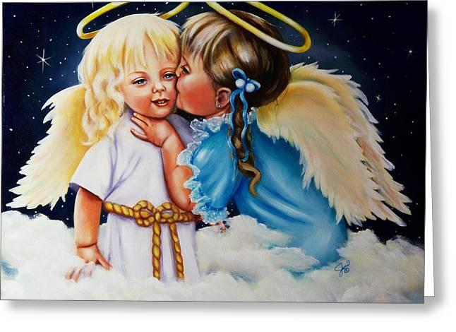 Portraits Greeting Cards - Angel Kiss Greeting Card by Joni McPherson