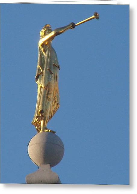 Angel Moroni Statue Greeting Card by Wayne Whitney