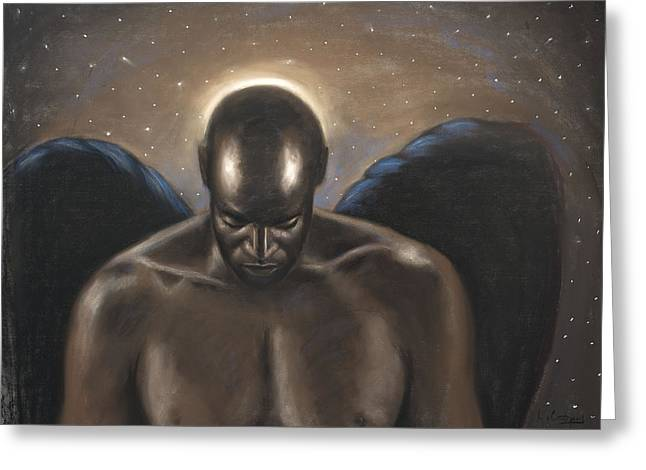 American Pastels Greeting Cards - Angel Noir Greeting Card by L Cooper