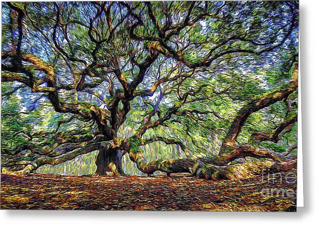 Angel Oak In Digital Oils Greeting Card