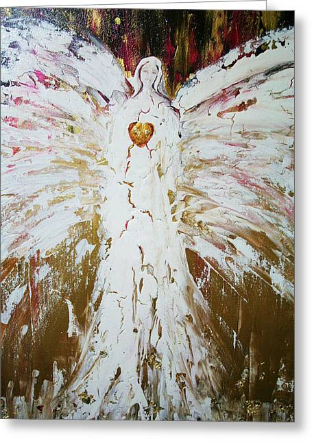 Gold Angel Greeting Cards - Angel of divine Healing Greeting Card by Alma Yamazaki