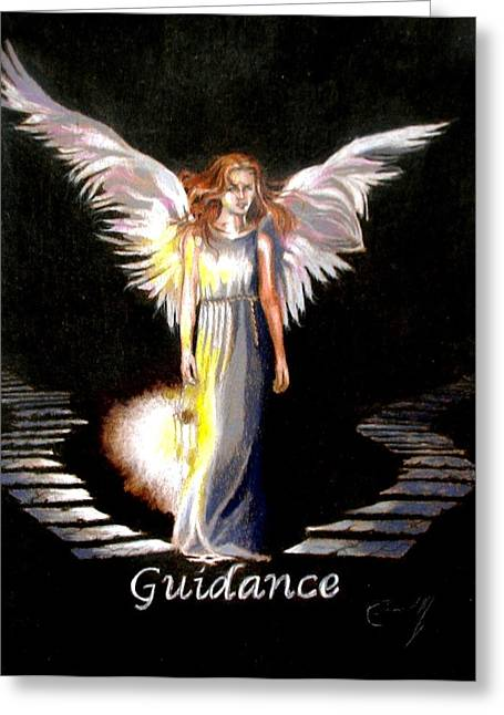 Angel Of Guidance Greeting Card by Concept by Rev Kathleen L Dixon Artist Greg Crumbly