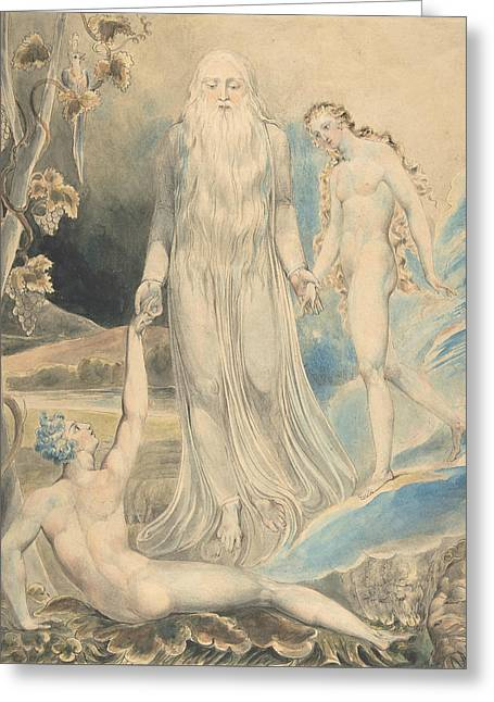 Angel Of The Divine Presence Bringing Eve To Adam Greeting Card by William Blake