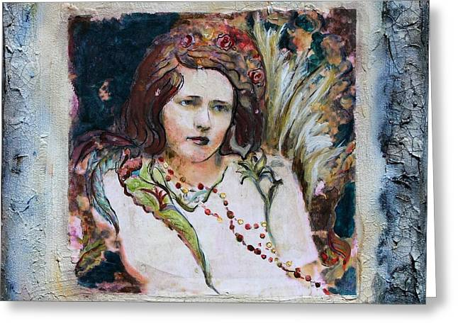 Angel Of The Roses Greeting Card by Carrie Joy Byrnes