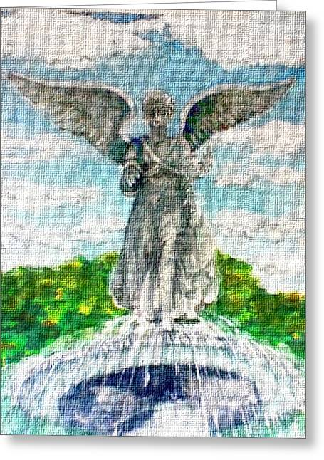 Angel Of The Waters - Bethesda Angel Central Park Nyc Greeting Card by Elle Smith Fagan